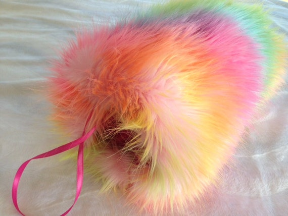 Multi colored hand muff faux fur weddings Since 2001