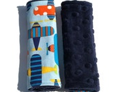 Car Seat Strap Covers - Reversible - Airplanes on Navy Blue Minky Dot