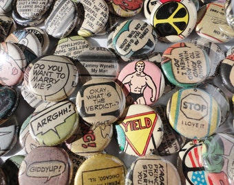Unique Handmade Wedding Favors -100 1 Inch Pinback Buttons - Comics Are For Lovers