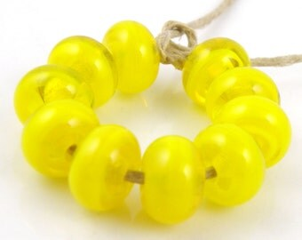 Submarine - Handmade Artisan Lampwork Glass Beads 5mmx9mm - SRA (Set of 10 Spacer Beads)