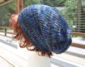 Multicolored Blue Knit Hat - Wool Ribbed Slouchy Knit Hat - Unisex hat Baby Alpaca Blue Hat Slouch Hat Knit Cap