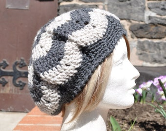 Gray Chevron Ripple Crochet Hat - Lightweight Gray and White Beret - Slouch Hat for Women