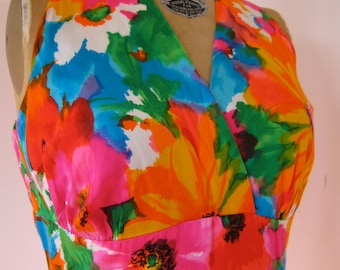 60s 70s Bright Floral Boho Maxi Dress - Vintage Hawaiian Blooms Coachella Festival Hippie Summer Watercolor M to ML
