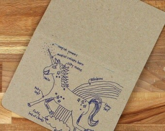 unicorn notebook, magical unicorn pocket notebook, recycled journal pocket notepad, best notebook ever, gift under 10, party favor