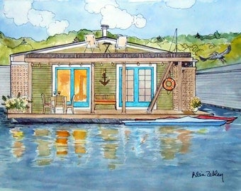 Custom House Portrait Watercolor and Ink, Houseboat or any Home Portrait, REAL Painting