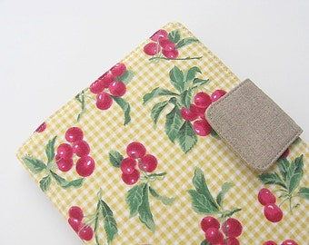 Cherries Kindle Fire Cover Nook Simple Touch Glowlight iPad Mini Kobo Cover Case Fruit Yellow Gingham Summer Picnic KatyDidStitches eReader
