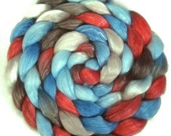 Handpainted Merino Tencel Wool Roving - 4 oz. AMERICAN DINER - Spinning Fiber