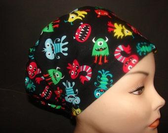 Euro Hat Close Little Monster Toss  Medical Surgical Scrub Hat Vet Nurse Chemo