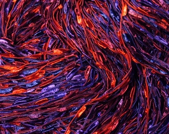 Hand painted Ladder Lace Yarn Ribbon Summer Berries red blue purple