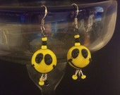 Earrings:  Black and Yellow Round Glass Smiley Faces with Dangles