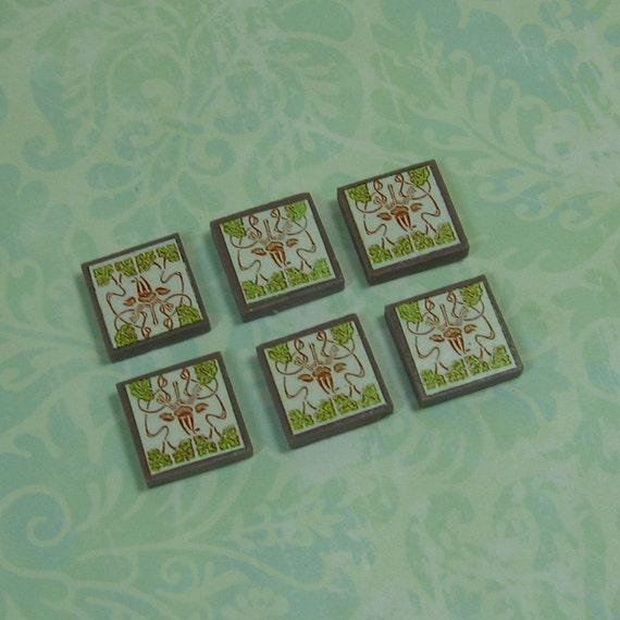 Miniature Dollhouse Tile Flooring: Dollhouse Miniature Art Deco Style Ceramic Tiles