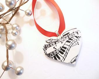 Music Heart Ornament, Christmas Ornament, Musician Gift, Door Hanger Hanging Wall Art Music Home Decor black white red handmade polymer clay