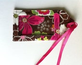 Brown and Pink Floral Sturdy Fabric Luggage Tag ID Your Luggage Fast Bright Bag Tag