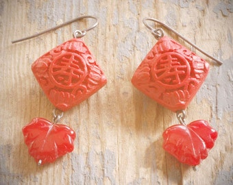 long life red cinnabar lantern earrings. deep red cinnabar & pressed czech glass leaves on oxidized sterling silver by val b.