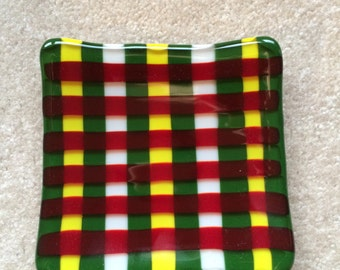 Plaid holiday dish or candle holder