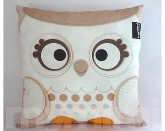 12 x 12 owl pillow white christmas snow owl woodland
