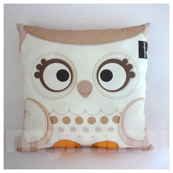 "16 x 16"" Pillow, White Christmas, Owl Pillow, Snow Owl, Woodland Animal, Owl Decor, Christmas Decor, Baby Bedroom, Owl Nursery"