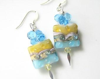 Lampwork Glass Earrings - Ocean Blue and Yellow Square Earrings - Sterling Silver Dangle Earrings - Beach Vacation Jewelry