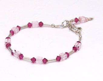PETITE Or CHILD ~ Fuchsia & Pale Pink Swarovski CRYSTAL Bracelet