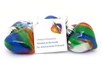 Valentines Day Gift - Chakra Glass Heart Ornament Hand Painted Inside - Unique Gift for Yogi - Tie Dye Rainbow Colors Yoga Gifts - Zen Decor