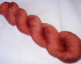 Silk lace yarn, hand painted silk, ZIMTORANGE, lace weight yarn, silk weaving yarn, 830yds