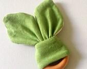 Organic Baby Teether - Natural Wooden Teething Ring - Hemp Organic Cotton Jersey - Green Bunny Ears