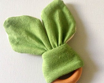 Organic Baby Teether - Natural Wooden Teething Ring - Hemp Organic Cotton Jersey - Green Bunny Ears