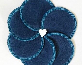 6 Reusable Cotton Rounds - Organic Makeup Rounds - Hemp Facial Rounds Blue Fleece