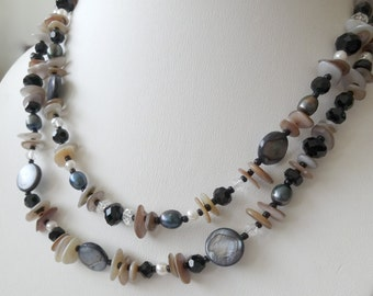 Double Strand Onyx, Shell, Freshwater Pearl Necklace