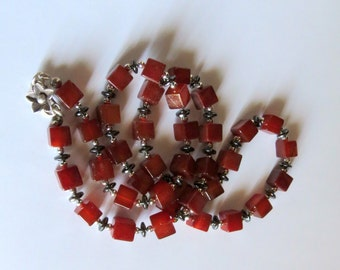 Tomato Red Chalcedony Necklace with Sterling Silver and Hematite, Smokeylady54