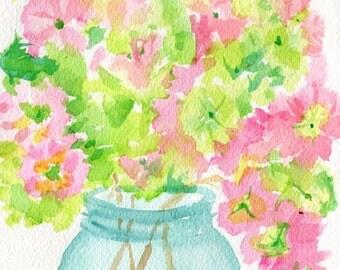 Hydrangeas watercolors paintings original, Pink and Green blooms in aqua  Mason jar, Original Flower Pink Artwork Watercolor, floral artwork