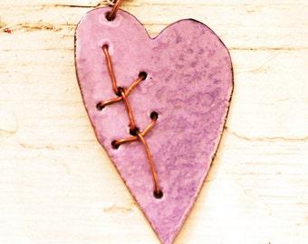 Mend Necklace - Enameled Copper Pendant - Purple Heart Necklace