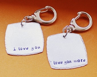 I Love You / Love You More Key Chain Pair - Personalized - Hand Stamped Key Ring - Gift for Couples