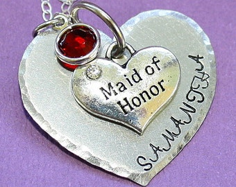 Maid of Honor Heart Necklace - Handstamped Jewelry - Wedding Gift - Swarovski Birthstone - Custom Name Pendant