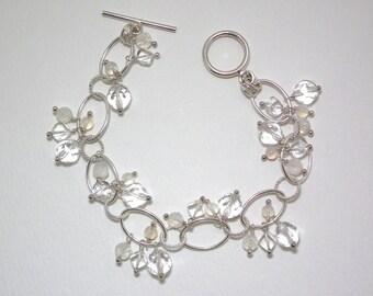 Mimi - Crystal quartz, white agate, and rainbow moonstone bracelet