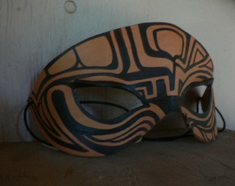 Tribal design leather mask, hand painted by artist FreeRolando