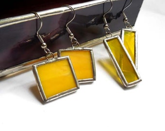 Yellow Stained Glass Earrings 2 Pairs