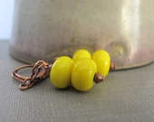 Glass Earrings, Copper Earrings, Yellow Glass, Lampwork Glass, Lemon Yellow Glass, Dangle Earrings, Copper Jewelry