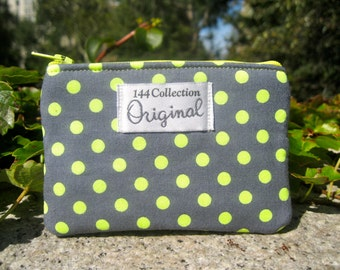 Neon Yellow and Gray Polka Dots Coin Wallet, Neon Yellow Coin Purse, Change Purse, Small Zipper Wallet, Neon Coin Pouch, Yellow Neon Zipper