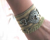 Tattered Hearts Bracelet, Vintage Fabric, Pinstripe, Tan, Olive, Green, Taupe, Love Hearts, Boho