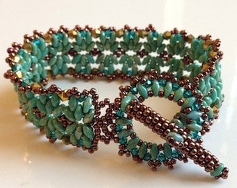 TUTORIAL for SuperDuo Tahitian Crystal and Seed Bead Bracelet