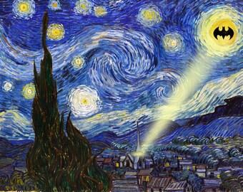 Starry Night Batman signal, Art Print, 11x14 Original From the Artist