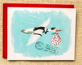New Baby card, Baby shower card, Baby on the way, stork carrying baby card, baby greeting card, congratulations on baby