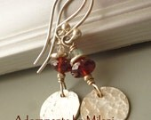 Red Gray Earrings Labradorite Gemstones Beaded Sterling Silver Small