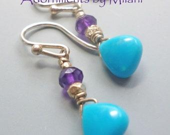 Turquoise Blue Purple Amethyst Earrings Sterling Silver Beaded Gemstone Peacock Small Simple