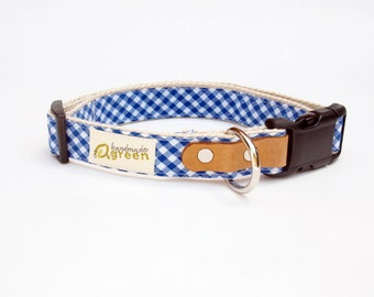 Blue Checkered. Hemp Dog Collar. Adjustable. Small Medium Large.