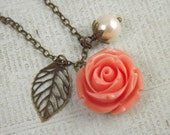 Coral and Cream Pearl Flower and Leaf Charm Wedding Necklace