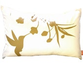 Limited Time Sale Mustard Print on Off White Cotton Hummingbird with Eucalyptus Rectangle Pillow