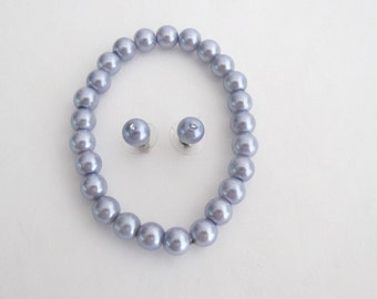 Lavender Pearl Jewelry Stretchable Bracelet Earrings Wedding Set Free Shipping In USA