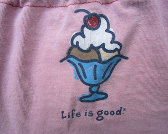 LIfe Is Good Ice cream Upcycled Tank Top in Pink  Size L to XL